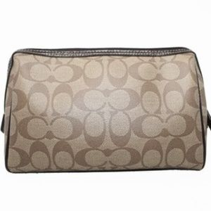 Coach Signature Coated Canvas Make Up Bag Pouch